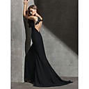 Formal Evening Dress - Black Sheath/Column Jewel Sweep/Brush Train Chiffon