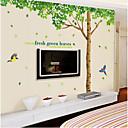 overdimensionerede frisk træ stue soveværelse aftagelig pvc transparent film wall stickers