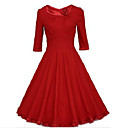Women's Vintage Round Neck A Line Above Knee 3/4 Sleeve Dress