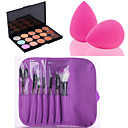 HOT SALE 15 Colors Contour Face Cream Makeup Concealer Palette + 7PCS Purple Makeup Brushes Set Kit + Powder Puff