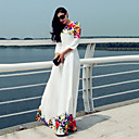 Women's Vintage Print Beach Maxi Dress (Polyester)
