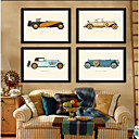 Cars Pictures Frame Drawning Room Frames Wood Frame with Canvas with Plastic Organic Glass 4Piece/set