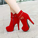 Women's Shoes Faux Suede Stiletto Heel Fashion Boots/Round Toe Boots Dress/Casual Black/Red