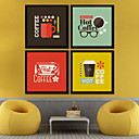 Coffee Room KTV Frames Wall Art Wood Frame with Canvas with Plastic Organic Glass 4Pieces/set