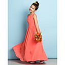 Ankle-length Chiffon Junior Bridesmaid Dress - Watermelon A-line One Shoulder