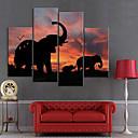 Lienzo Envuelto Para Galerías de arte Elefantes Animales Juego de 4