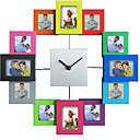Fashion Design Photo Frame Wall Clock, High Quality Home Decor with 12 art picture frames
