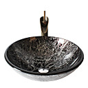 Retro Pattern Round Tempered Glass Vessel Sink with Retro Cup Faucet ,Pop - Up Drain and Mounting Ring