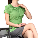 Women's Solid Green/White Blouse , Ruff Collar Short Sleeve Pleated/Ruffle