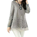 Women's Patchwork Black/Beige/Gray Blouse,Casual Round Neck Long Sleeve Hollow Out
