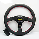 Universal 350mm 14 Inch Car Auto Momo Modified Genuine Leather Material Automobile Race Steering Wheel with Horn Button