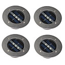 Set of 4 Outdoor White Solar Stainless Steel 3-LED Brick Round Decking Light Ground Lamp