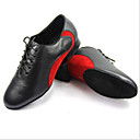 Customizable Men's Dance Shoes Modern Leather Chunky Heel Blue / Red