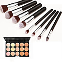 8pcs makeup set Professional/Eco-friendly/Full Coverage Silver/Black blush/powder shadow brush set with 15 Colors Concealer(2 Color Choose)