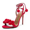 Calçados Femininos-Sandálias-Gladiador / Pom Pom-Salto Agulha-Vermelho / Branco / 1 #-Couro / Linho-Social / Casual