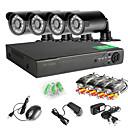 4CH 960h Network DVR 4 stk 1000tvl ir utendørs CCTV overvåkingskameraer system
