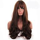Mujer Pelucas sintéticas Sin Tapa Largo Ondulado Marrón Raya en medio Con flequillo Peluca de Halloween Peluca de carnaval Las pelucas