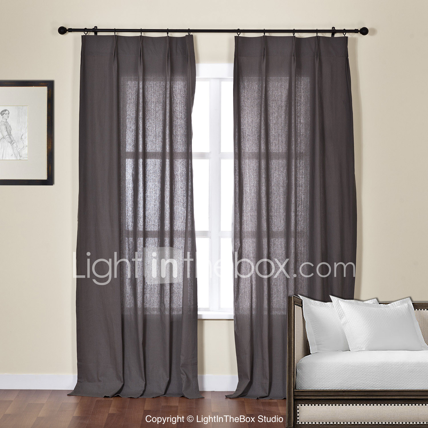 Sheer Curtains Living Room Two Panels Curtain Modern Solid Living Room Linen Cotton Blend