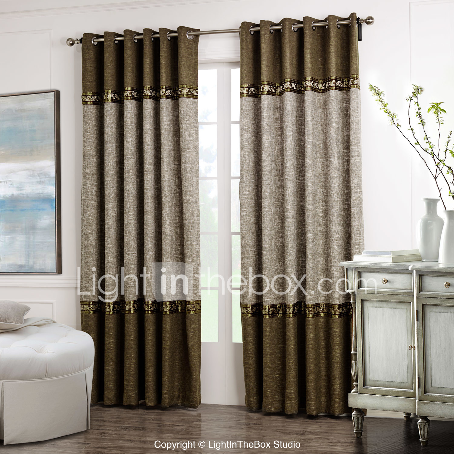 Designer curtain panels - Two Panels Curtain Neoclassical Solid Living Room Polyester Material Curtains Drapes Home Decoration For Window
