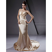 Lanting Trumpet / Mermaid Strapless Court Train Elastic Woven Satin Wedding Dress