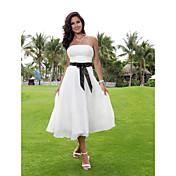 Lanting novia una línea pequeña / más tamaños de boda del vestido de té de longitud vestido sin tirantes