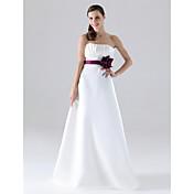 LAN TING BRIDE Do poda Bez naramenica Haljina za djeverušu - Color blok Bez rukava Saten