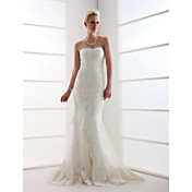 Lanting Trumpet/Mermaid Plus Sizes Wedding Dress - Ivory Sweep/Brush Train Sweetheart Tulle