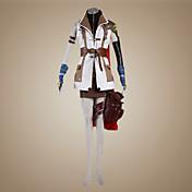 に触発さ ファイナルファンタジー Lightning ビデオ ゲーム コスプレ衣装 コスプレスーツ パッチワーク ホワイト ブラウン ロング コート 上着 スカート ショーツ 肩アーマー スリーブ アームレット 手袋 ベルト ポケット