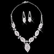 diamantes de imitación de plata dos señoras pieza de joyería de las hojas de la boda deslumbrante conjunto (45 cm)