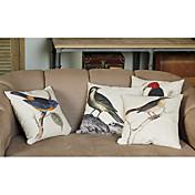 鳥の装飾が施されたリネンとコットンの枕カバー(4個セット)