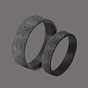 delicado par de acero inoxidable negro de los anillos
