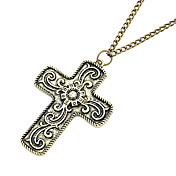 Moda Retro largo collar de cruz