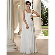 Lanting Bride® Aライン 小柄 / 大きいサイズ ウェディングドレス - クラシック/タイムレス / シック&モダン フロア丈 ホルター シフォン とともに スパンコール / クリスクロス