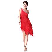 Dança Latina Vestidos Mulheres Apresentação Algodão Poliéster 1 Peça Sem Mangas Natural Vestido