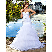 Lanting Trumpet/Mermaid Wedding Dress - Ivory Floor-length Sweetheart Satin/Organza