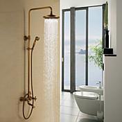 アンティーク シャワーシステム レインシャワー ハンドシャワーは含まれている with  セラミックバルブ 三つ 二つのハンドル三穴 for  アンティーク真鍮 , シャワー水栓