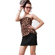 ZHI YUAN Leopard dos piezas como cinturón vestido bodycon