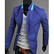 Blazer De los hombres Un Color-Casual-Mezcla de Algodón-Manga Larga-Azul / Naranja / Blanco
