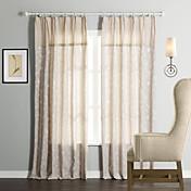 (dos paneles) tradicional floral jacquard lino / algodón ecológico cortina