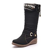 Moolecole Kvinders Sort Koskind gummisål Uldne varm komfortabel Mid-Calf Boots