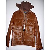 Brown PU capucha midoo Hombres Shake Off perchero Collar