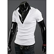 Langdengカジュアルハーレムレイヤード半袖Tシャツ(ホワイト)