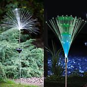 1-LED de colores Stake Luz Solar LED Luz de fibra óptica de la fuente del jardín