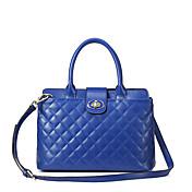 MEFAs Elegante Raute-Muster-echtes Leder Tote / Umhängetasche (blau)