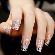 12PCS White Lace Transparent s drahokamu Glitter svatební nehty Samolepky Květinový vzor