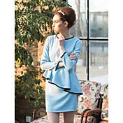 TSは裾ワスプウエストペプラムドレスのコントラスト