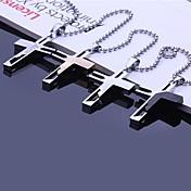 60センチメートルチェーン(アソートカラー)とのパーソナライズされたギフトステンレス鋼の十字型彫刻ペンダントネックレスジュエリー