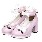 Zapatos Lolita Clásica y Tradicional Princesa Tacón alto Zapatos Lazo 6.5 CM Rosado Negro Amarillo ParaCuero Sintético/Cuero de