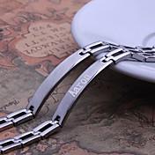 パーソナライズされたギフトシンプルデザインシルバーメンズジュエリーステンレス鋼の彫刻のIDブレスレット0.8センチメートル幅