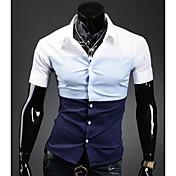 メンズスリーカラーステッチカジュアル半袖シャツ